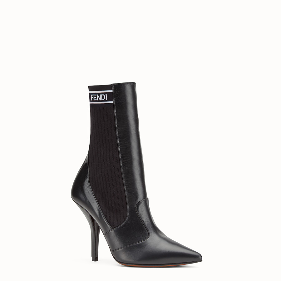FENDI BOOTS - Black leather boots - view 2 detail