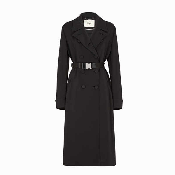 FENDI OVERCOAT - Black cady trench coat - view 1 small thumbnail