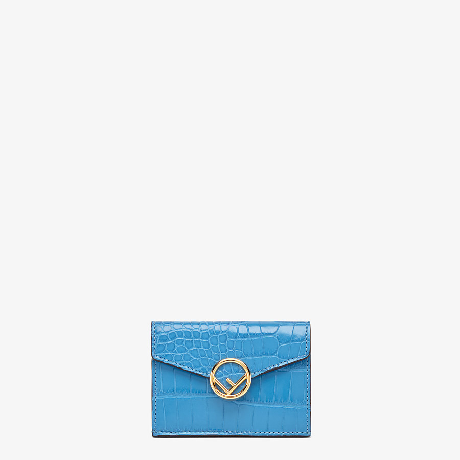 FENDI MICRO TRIFOLD - Pale blue alligator wallet - view 1 detail