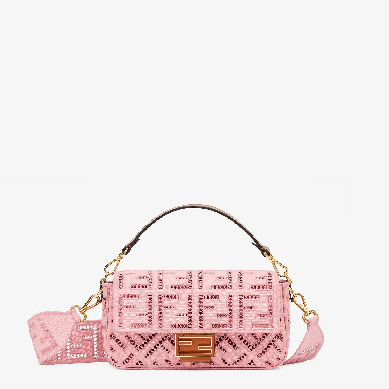 FENDI BAGUETTE - Pink canvas bag with embroidery - view 1 detail