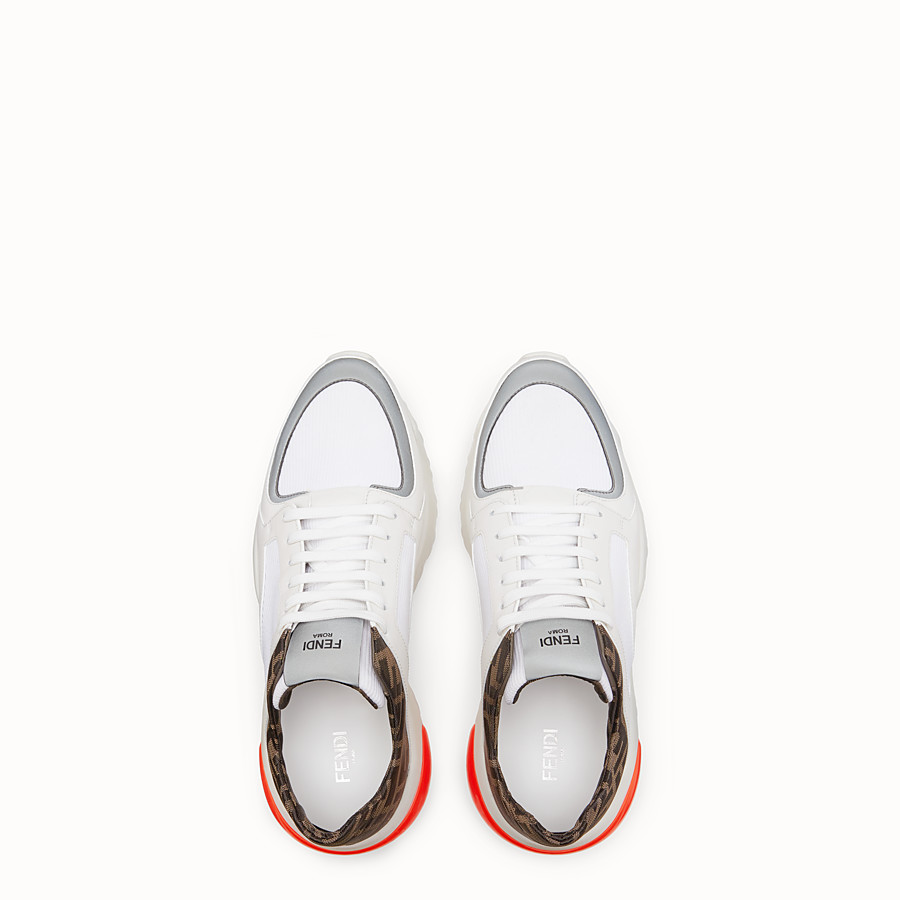 FENDI SNEAKERS - White tech fabric low-tops - view 4 detail