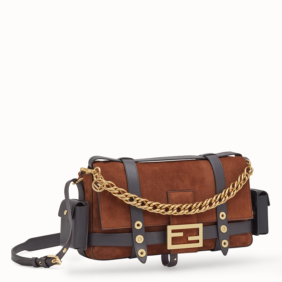 FENDI BAGUETTE WITH CAGE - Brown suede bag - view 4 detail