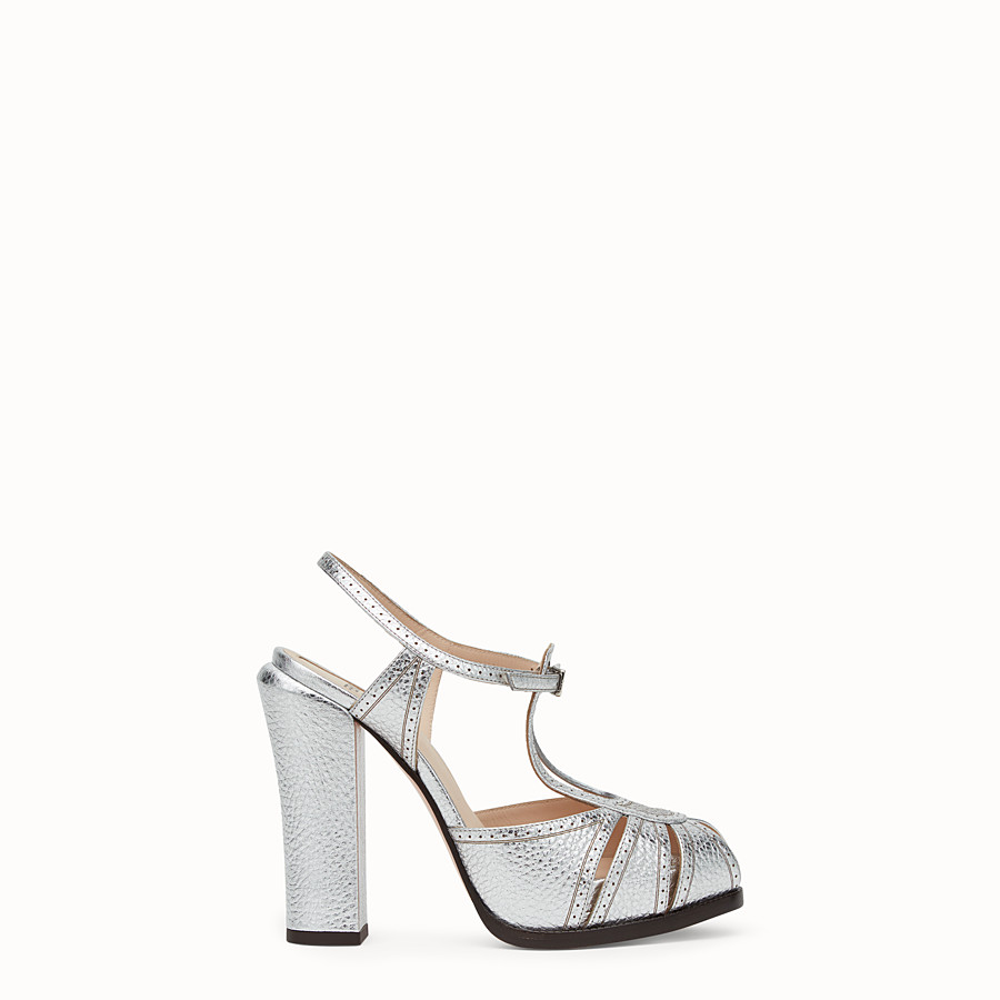 FENDI SANDALS - Silver laminated leather sandals - view 1 detail