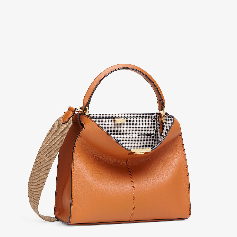 FENDI PEEKABOO X-LITE MEDIUM - Brown leather and check bag - view 3 detail
