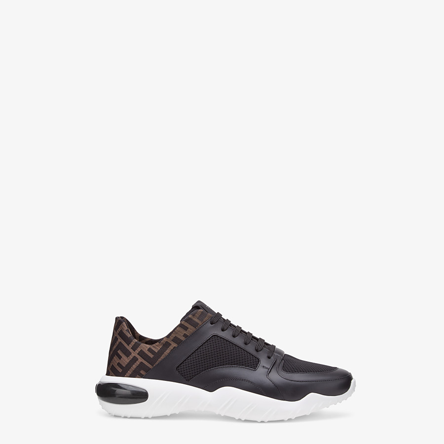 FENDI SNEAKERS - Black tech mesh and leather low-tops - view 1 detail