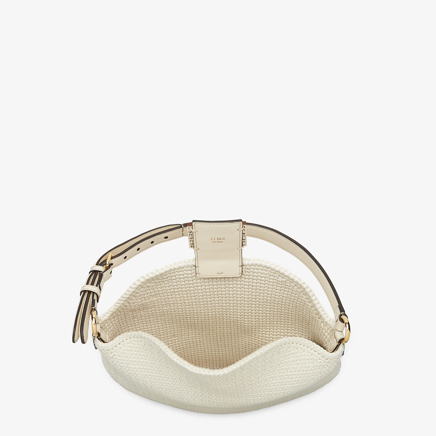 FENDI SMALL CROISSANT - White cotton bag - view 5 detail