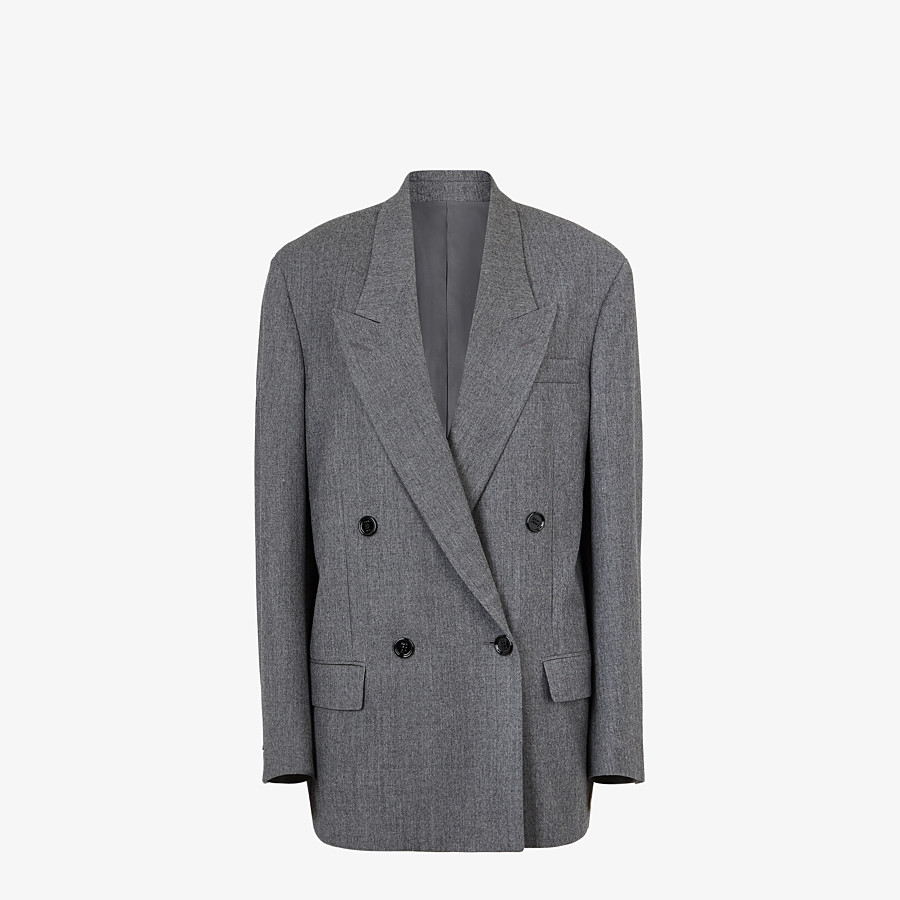 FENDI JACKET - Gray flannel blazer - view 1 detail