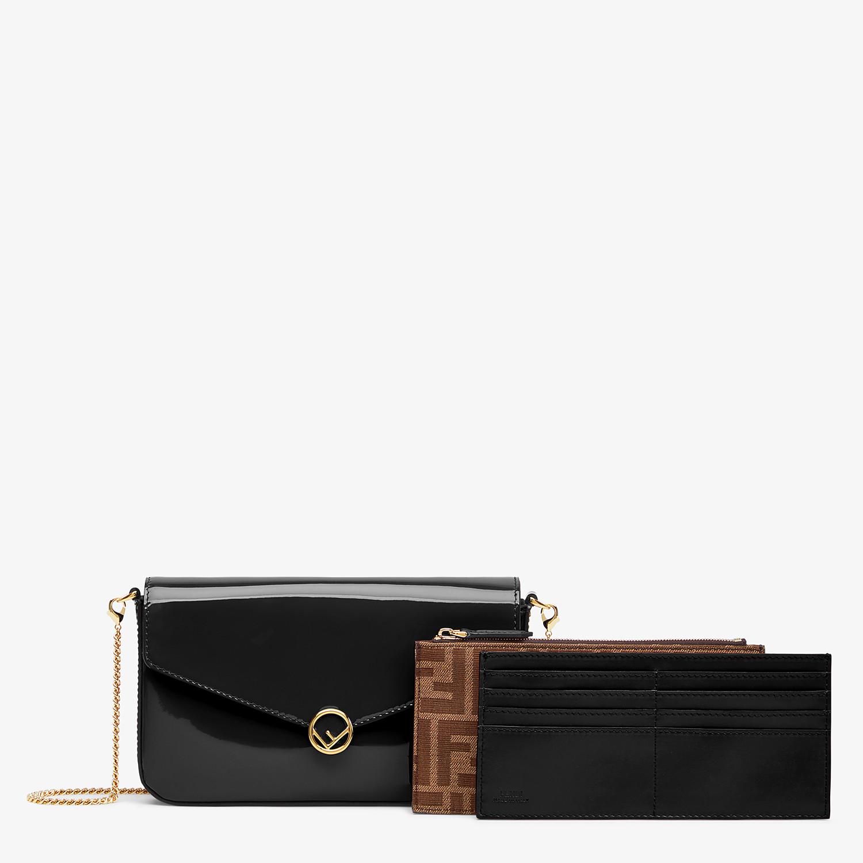 FENDI WALLET ON CHAIN MIT POUCHES - Mini-Tasche aus Lackleder in Schwarz - view 2 detail