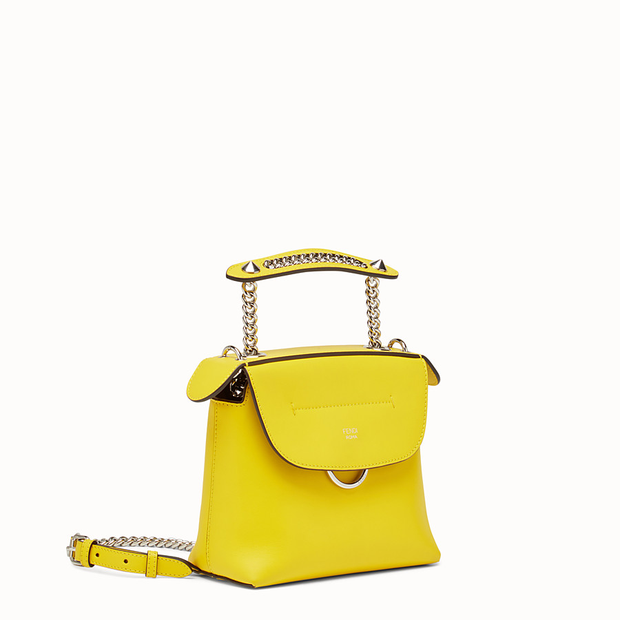 FENDI MINI BACK TO SCHOOL BACKPACK - Mini backpack in yellow leather - view 2 detail