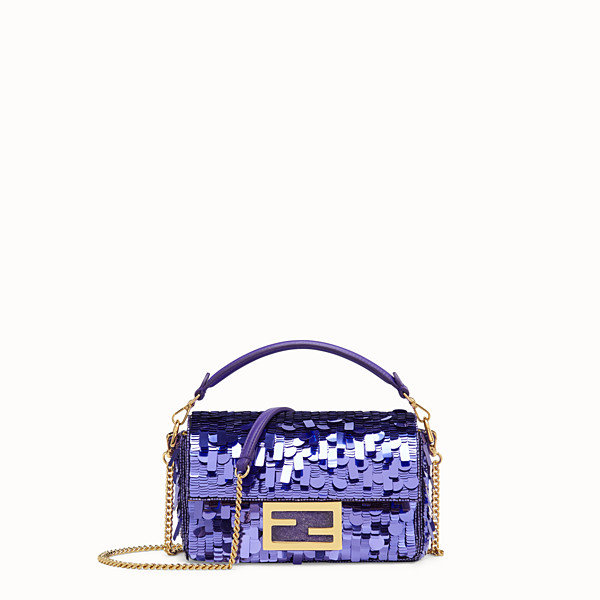 FENDI MINI BAGUETTE - Purple sequin minibag - view 1 small thumbnail