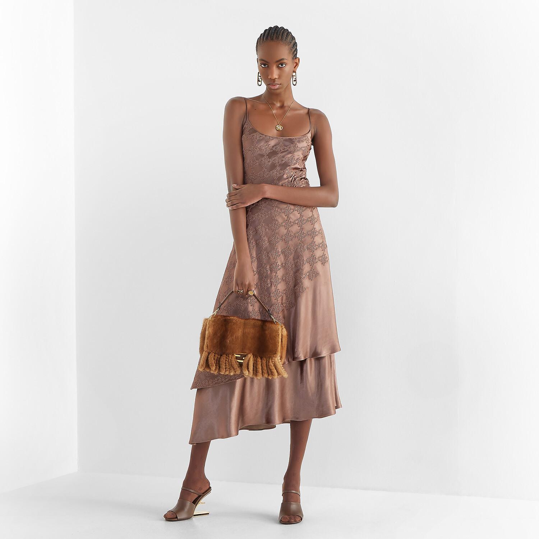 FENDI DRESS - Brown satin dress - view 4 detail