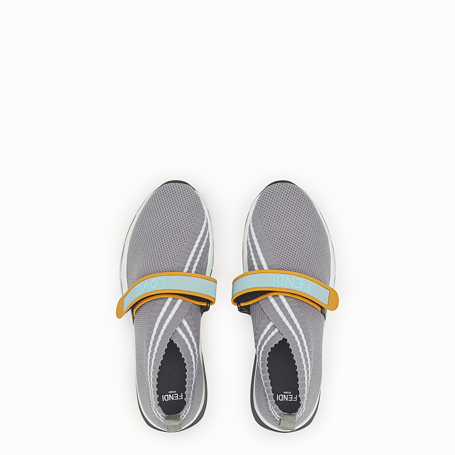FENDI SNEAKERS - Gray fabric sneakers - view 4 detail