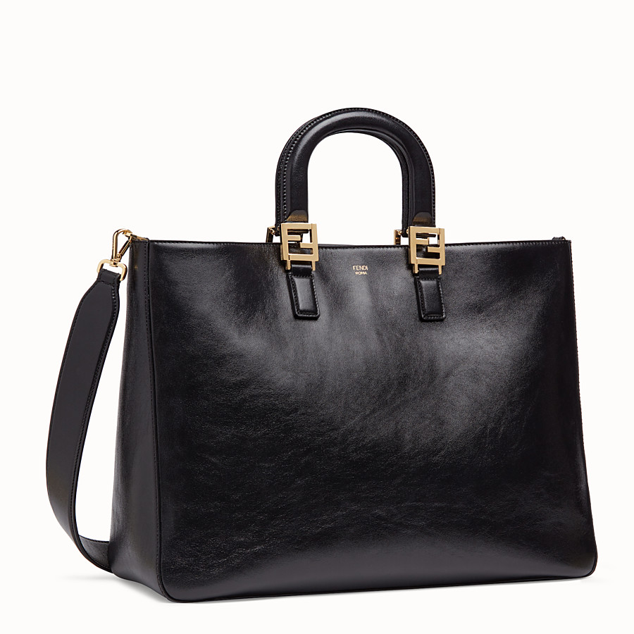 FENDI FF TOTE LARGE - Black leather bag - view 2 detail