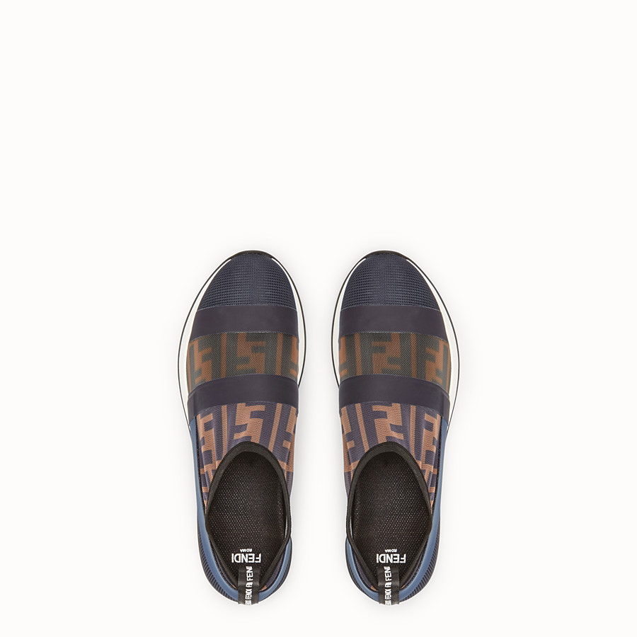 FENDI SNEAKERS - Multicolour mesh and tulle slip-ons. - view 4 detail