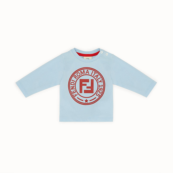 FENDI T-SHIRT - Light blue cotton T-shirt - view 1 small thumbnail