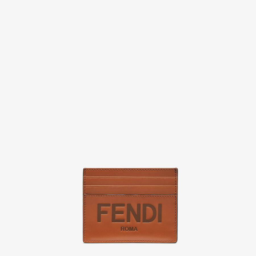 FENDI CARD HOLDER - Brown leather cardholder - view 1 detail