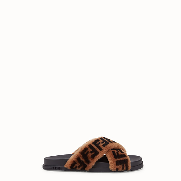 FENDI SLIDES - Brown sheepskin slides - view 1 small thumbnail