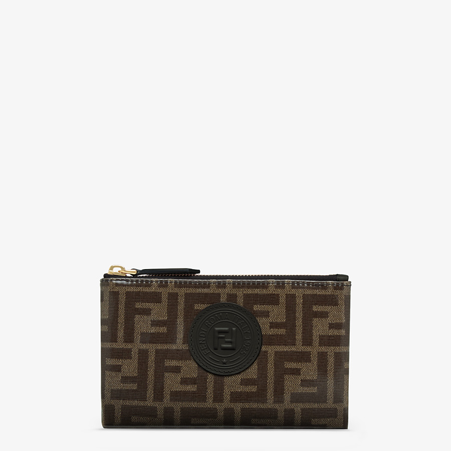 FENDI SMALL FLAT POUCH - Brown fabric pouch - view 1 detail