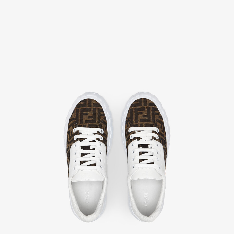 FENDI SNEAKERS - Brown fabric low-tops - view 4 detail