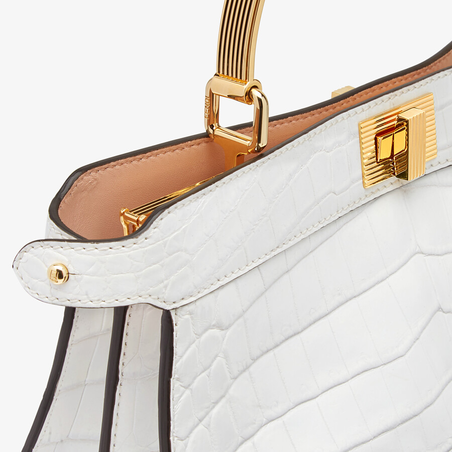 FENDI PEEKABOO ISEEU EAST-WEST - White crocodile leather bag - view 6 detail