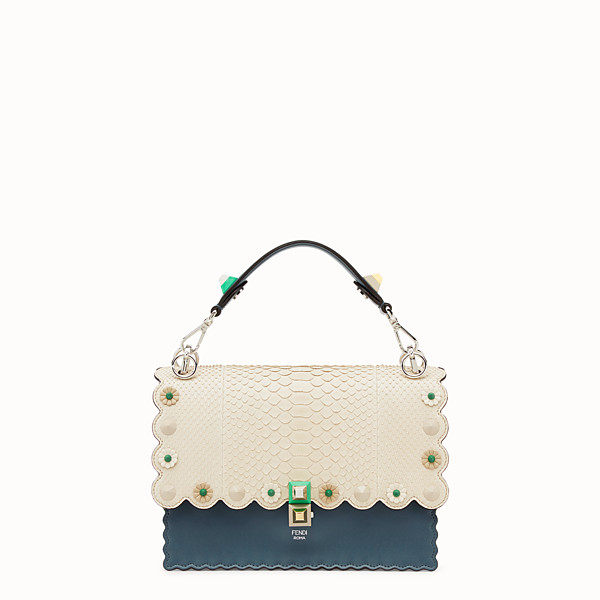 FENDI KAN I - Blue leather bag with exotic details - view 1 small thumbnail