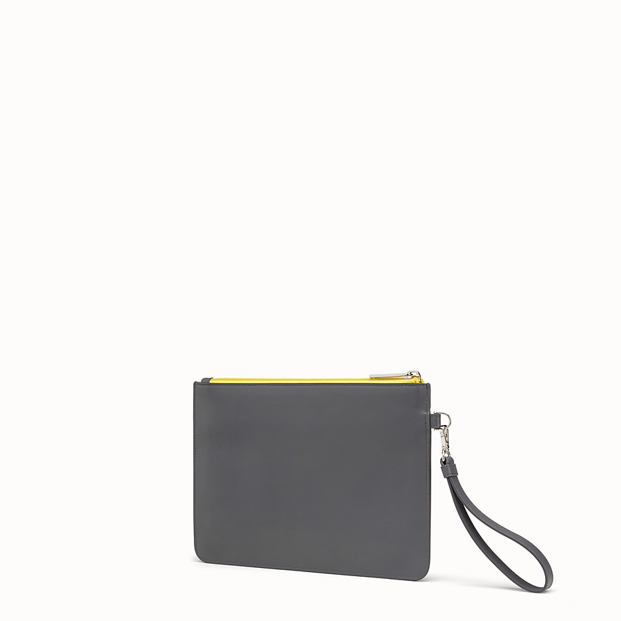 FENDI POUCH - Grey leather pouch - view 2 detail