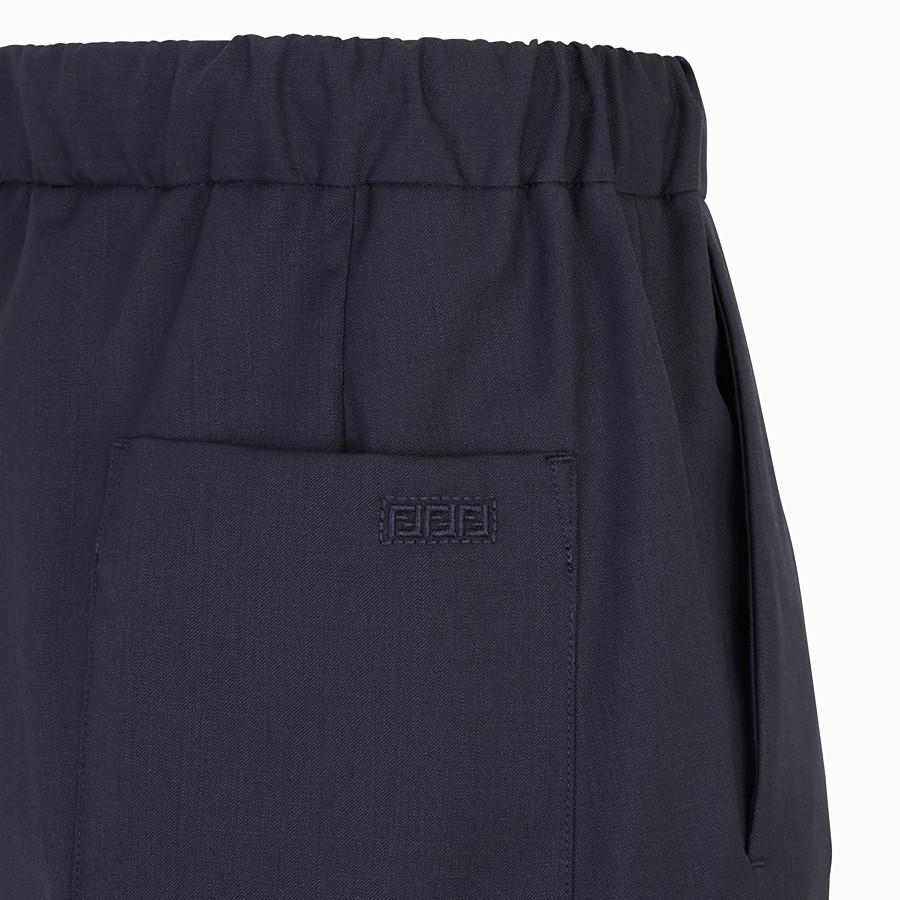 FENDI TROUSERS - Blue wool trousers - view 3 detail