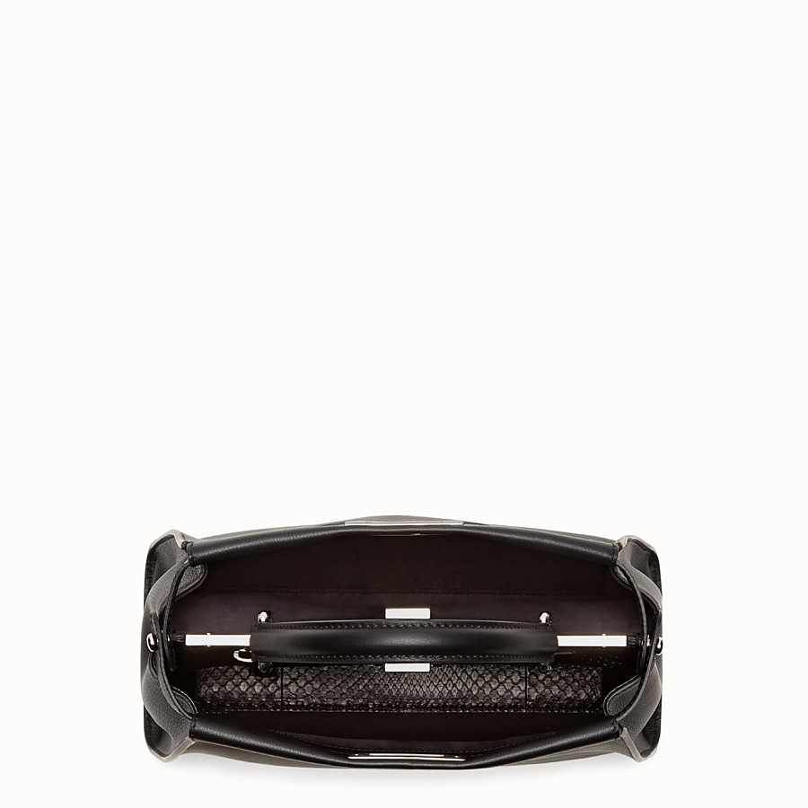 FENDI PEEKABOO REGULAR - handbag in leather and python with Bag Bugs pattern - view 4 detail