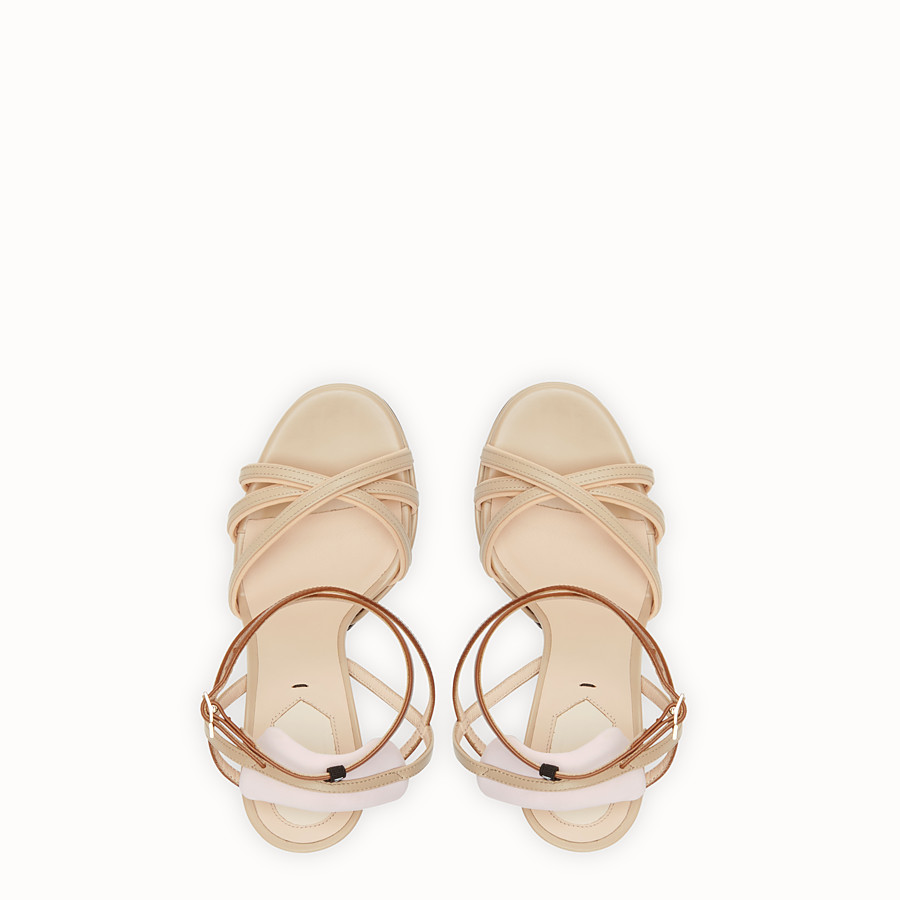 FENDI SANDALS - Beige leather sandals - view 4 detail