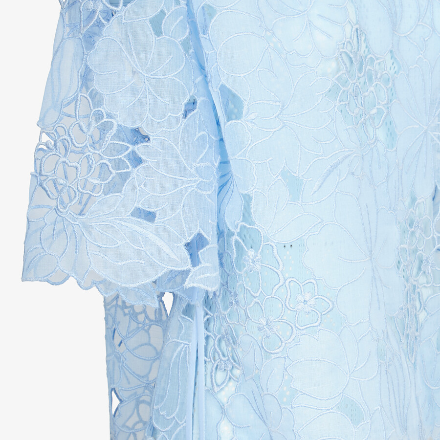 FENDI T-SHIRT - Light blue lace T-shirt - view 3 detail