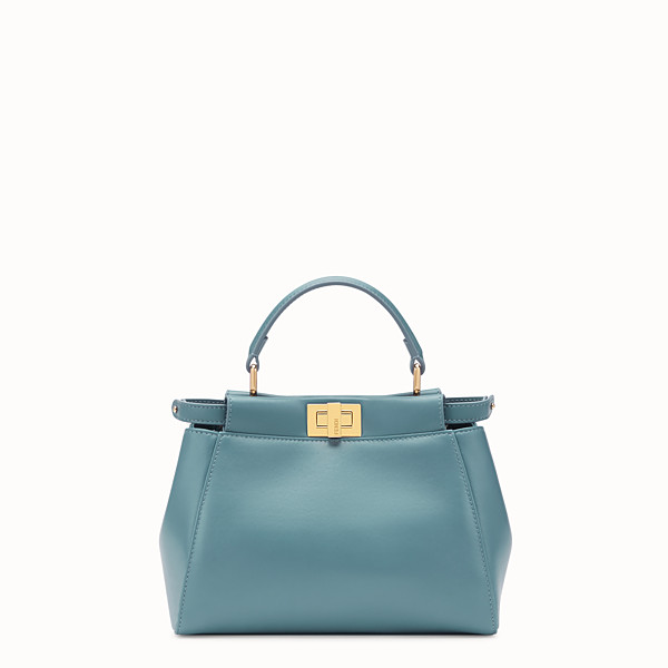 FENDI PEEKABOO ICONIC MINI - Light blue leather bag - view 1 small thumbnail