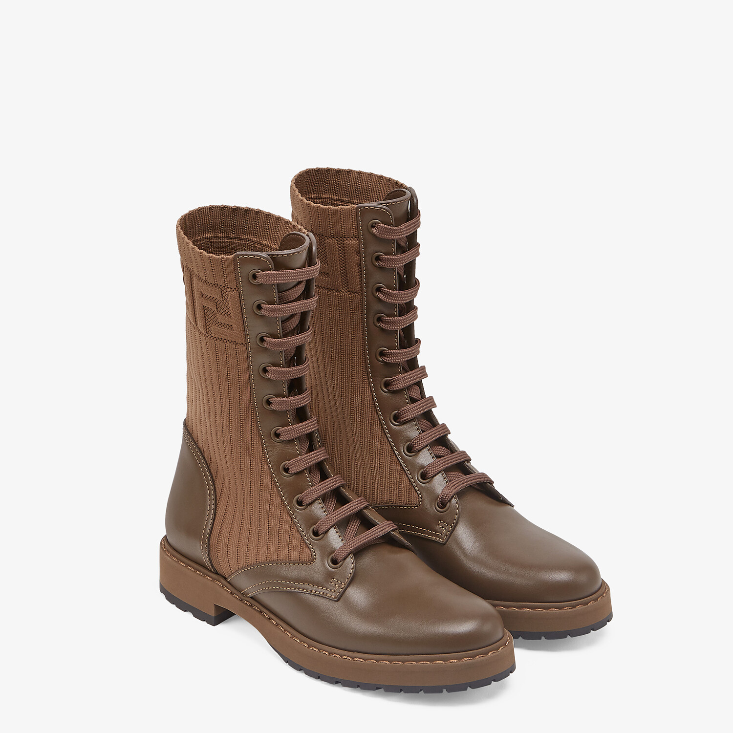 FENDI ROCKOKO - Brown leather biker boots with stretch fabric - view 4 detail