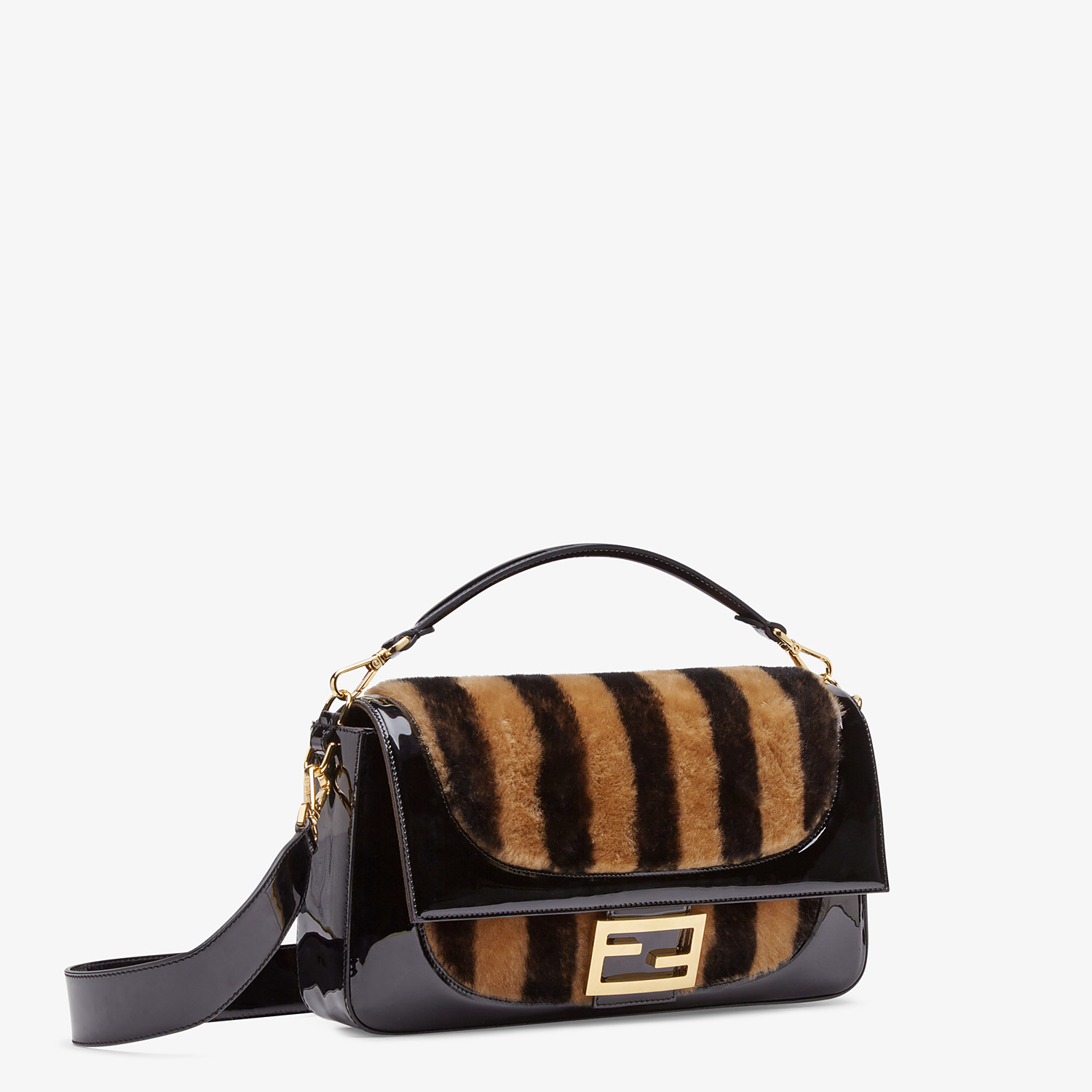 FENDI BAGUETTE LARGE - Multicolour, patent leather and sheepskin bag - view 3 detail