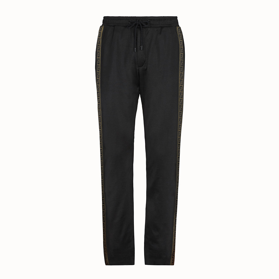 FENDI TROUSERS - Black fabric trousers - view 1 detail