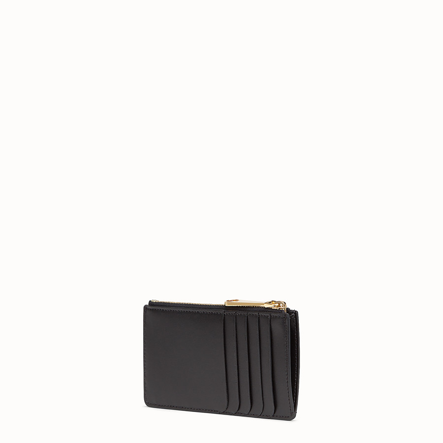 FENDI KEY RING POUCH - Black leather pouch - view 2 detail