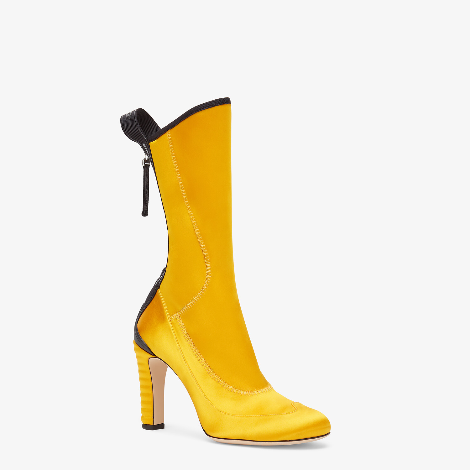 FENDI ANKLE BOOTS - Promenade Booties in yellow tech satin - view 2 detail