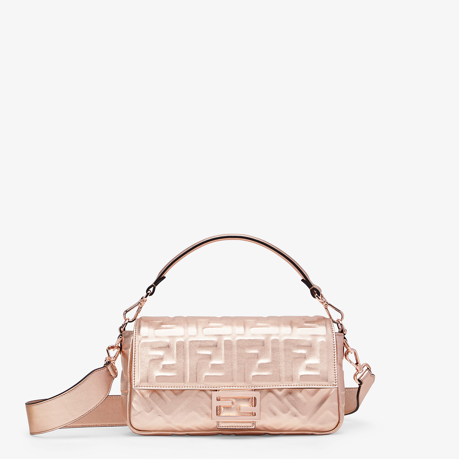 FENDI BAGUETTE - Pink leather bag - view 1 detail