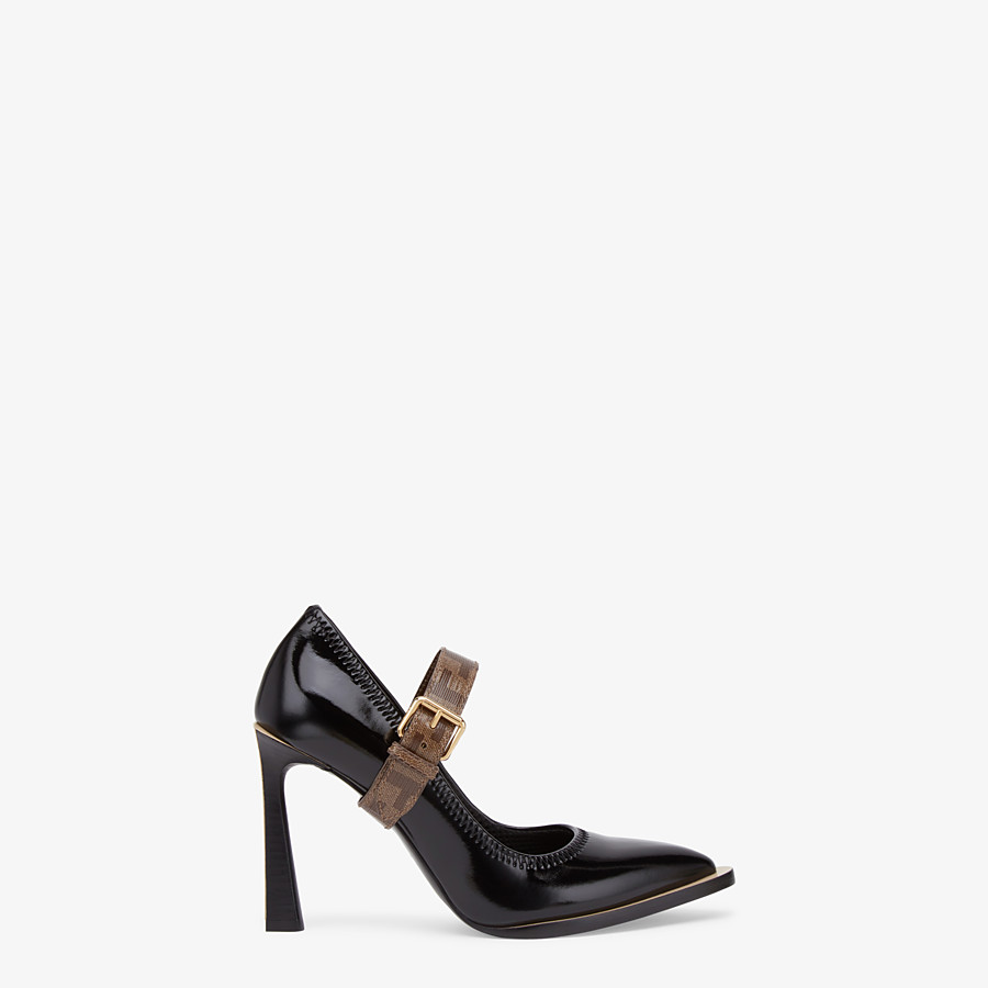 FENDI PUMPS - Mary Jane in glossy black neoprene - view 1 detail
