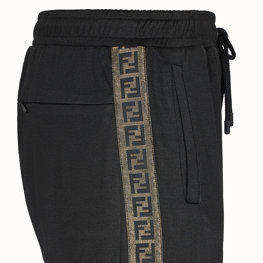 FENDI TROUSERS - Black fabric trousers - view 3 detail
