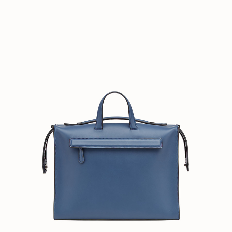 FENDI MESSENGER - Smooth blue leather handbag - view 3 detail