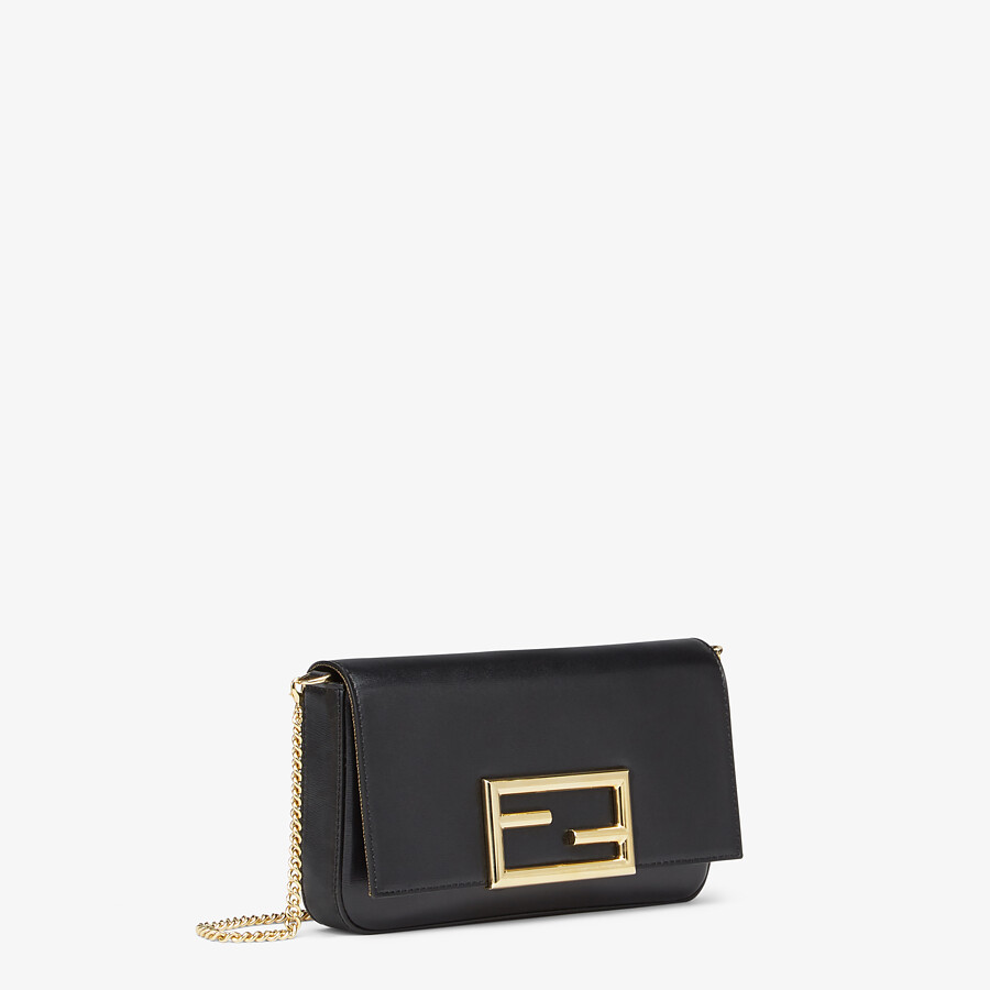 FENDI WALLET ON CHAIN WITH POUCHES - Black leather mini-bag - view 4 detail