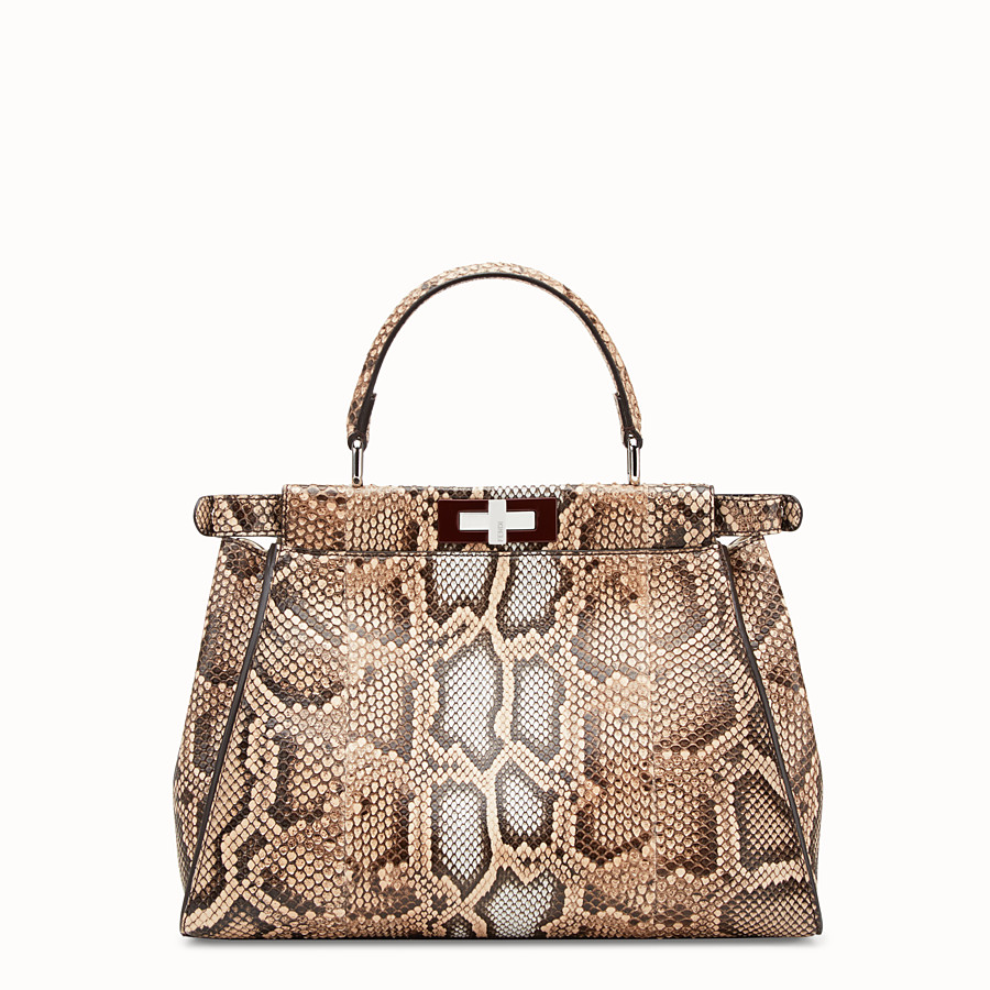 FENDI PEEKABOO REGULAR - Beige python bag - view 3 detail