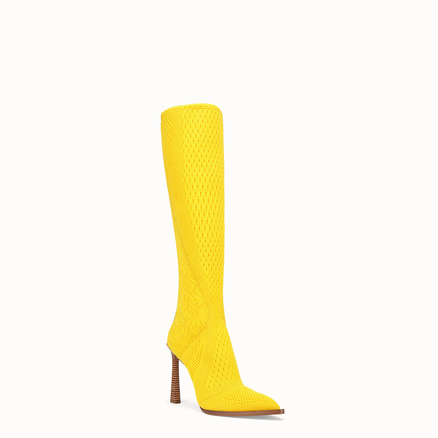 FENDI BOOTS - High-tech yellow jacquard boots - view 2 detail