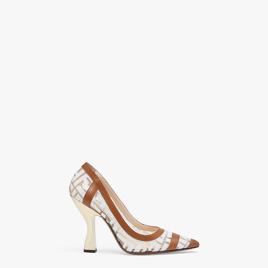 FENDI COURT SHOES - PU and white leather court shoes - view 1 detail