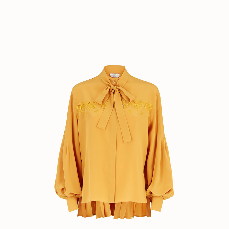 FENDI BLOUSE - Yellow silk blouse - view 1 detail