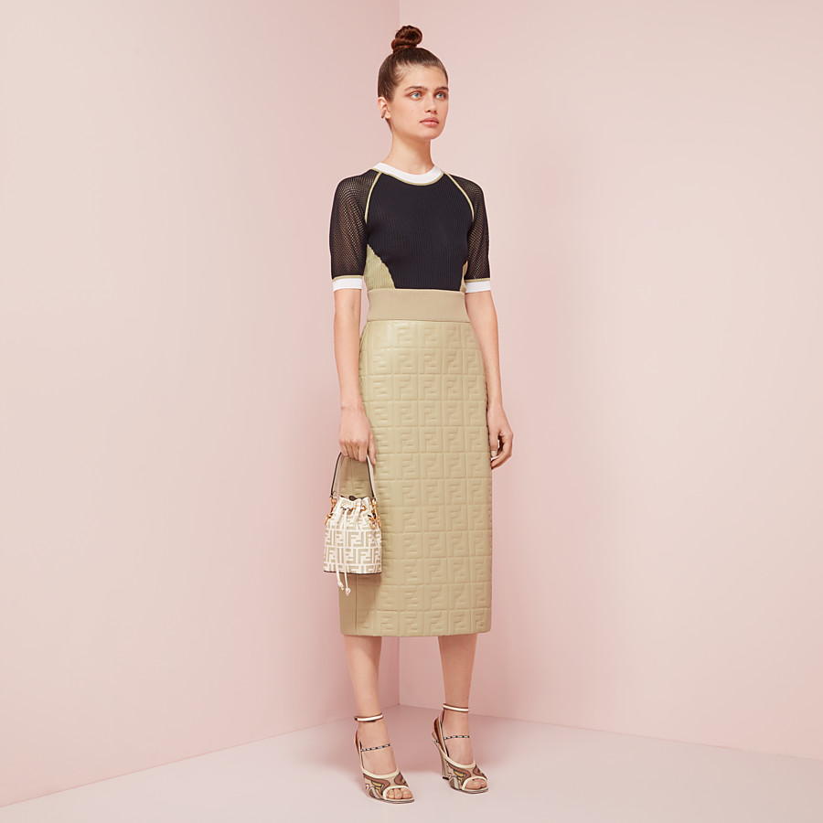 FENDI SKIRT - Green nappa leather skirt - view 4 detail