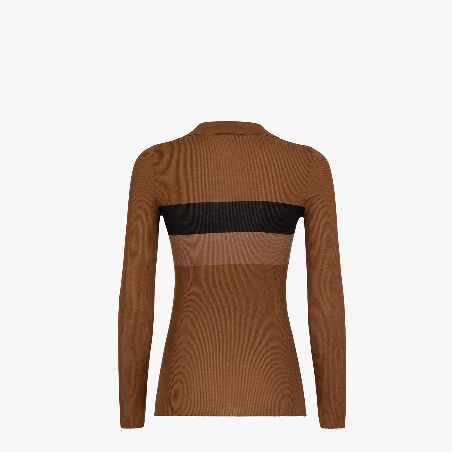 FENDI SWEATER - Brown silk sweater - view 2 detail