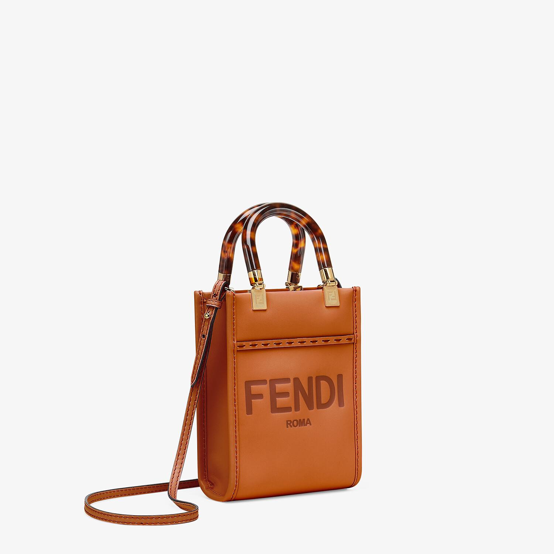 FENDI MINI SUNSHINE SHOPPER - Dark brown leather mini-bag - view 3 detail