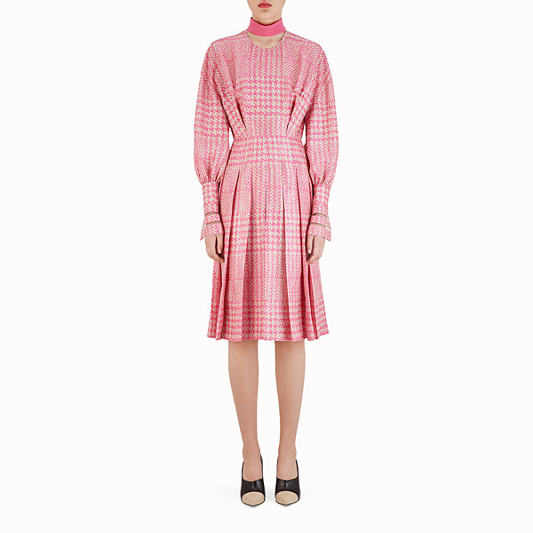 FENDI MIDI DRESS - Fuchsia Glen plaid silk dress - view 1 small thumbnail