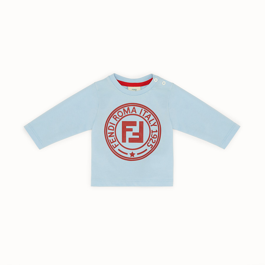 FENDI T-SHIRT - Light blue cotton T-shirt - view 1 detail